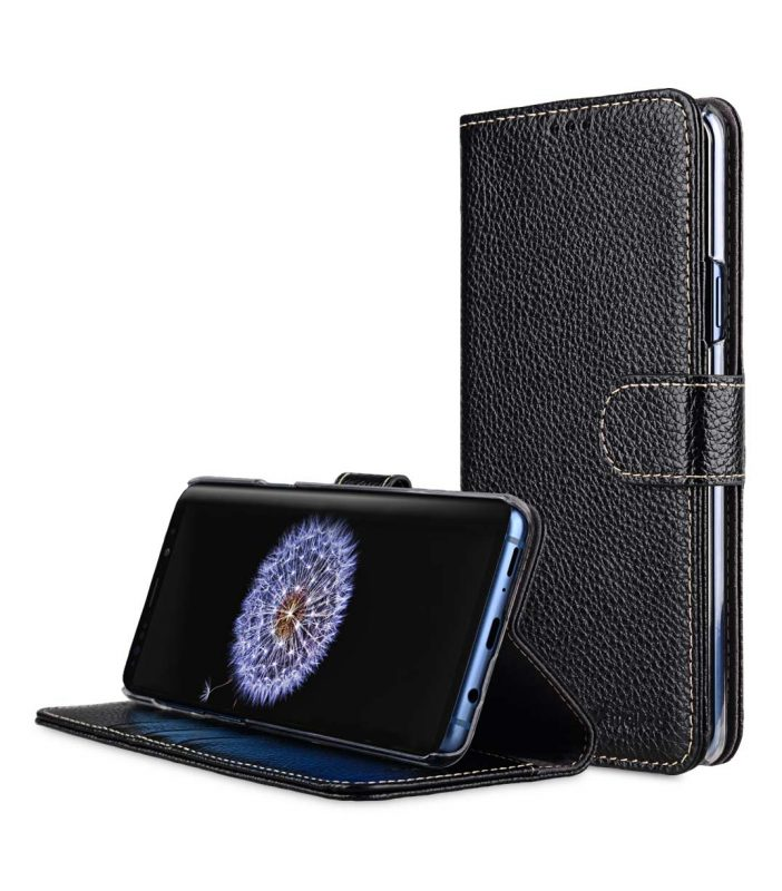 Melkco Premium Leather Case for Samsung Galaxy S9 Plus - Wallet Book Clear Type Stand (Black LC)