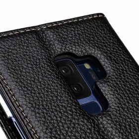Melkco Premium Leather Case for Samsung Galaxy S9 Plus – Wallet Book Clear Type Stand (Black LC)