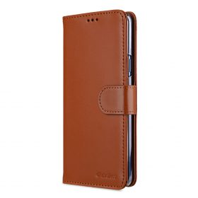 Melkco Premium Leather Case for Samsung Galaxy S9 Plus – Wallet Book Clear Type Stand (Brown CH)