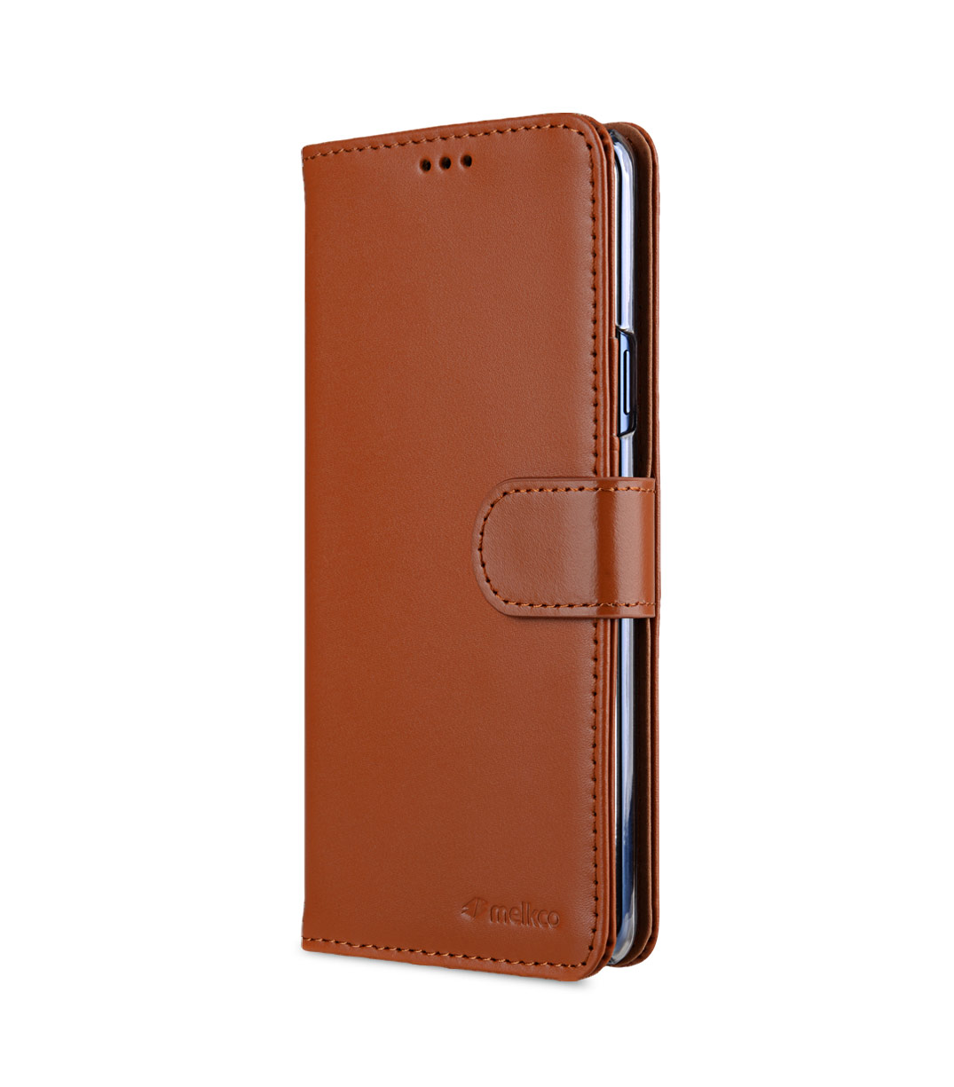 Melkco Premium Leather Case for Samsung Galaxy S9 Plus - Wallet Book Clear Type Stand (Brown CH)