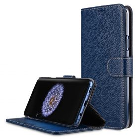 Melkco Premium Leather  Case for Samsung Galaxy S9 Plus – Wallet Book Clear Type Stand (Dark Blue LC)
