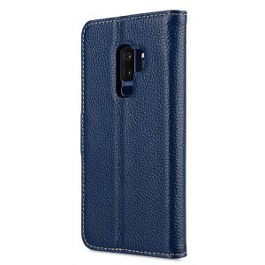 Melkco Premium Leather Case for Samsung Galaxy S9 Plus - Wallet Book Clear Type Stand (Dark Blue LC)