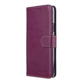 Melkco Premium Leather  Case for Samsung Galaxy S9 Plus – Wallet Book Clear Type Stand (Purple LC)