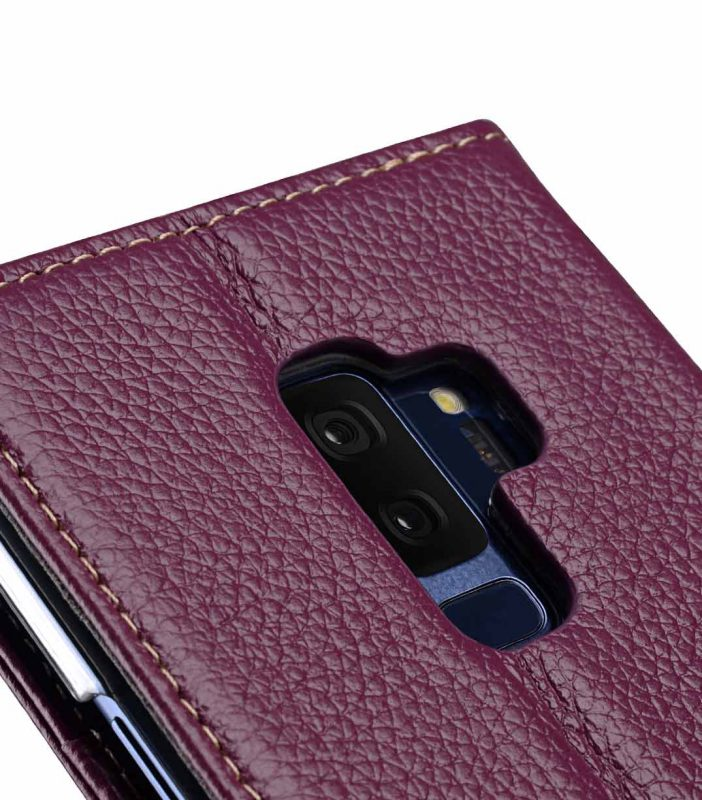 Melkco Premium Leather Case for Samsung Galaxy S9 Plus - Wallet Book Clear Type Stand (Purple LC)