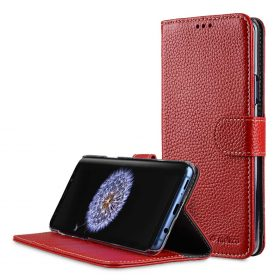 Melkco Premium Leather  Case for Samsung Galaxy S9 Plus – Wallet Book Clear Type Stand (Red LC)