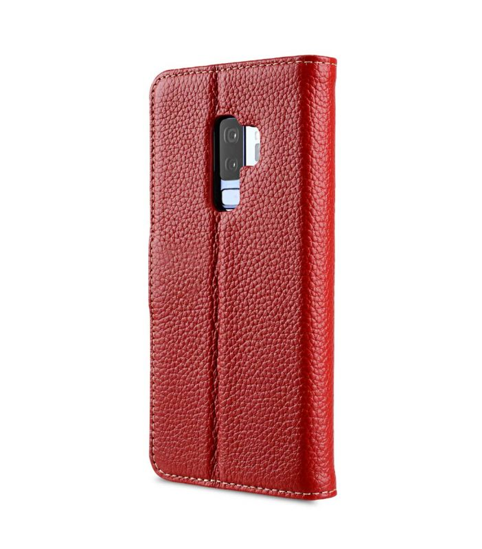 Melkco Premium Leather Case for Samsung Galaxy S9 Plus - Wallet Book Clear Type Stand (Red LC)