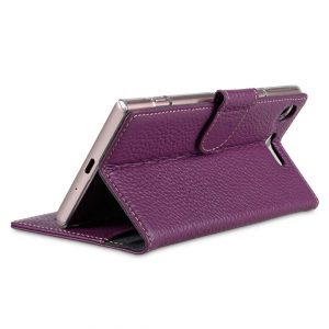 Melkco Premium Leather Case for Sony Xperia XZ1 Compact - Wallet Book Clear Type Stand (Purple LC)