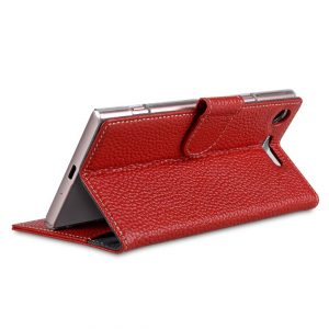 Melkco Premium Leather Case for Sony Xperia XZ1 Compact - Wallet Book Clear Type Stand (Red LC)