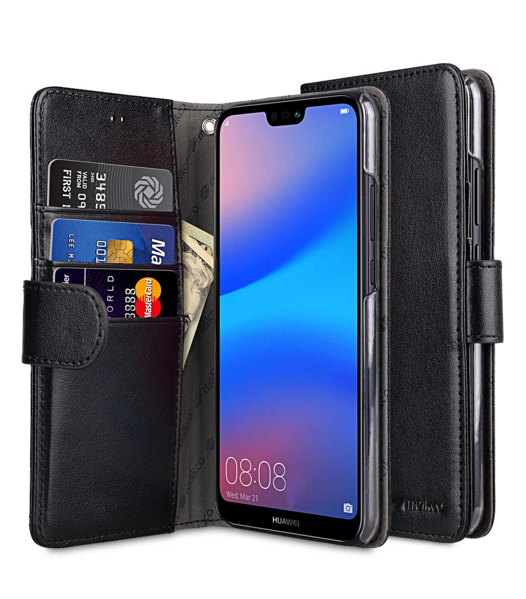 sale retailer 31eed 2b4d6 PU Leather Wallet Book Clear Type Case for Huawei P20 Lite - (Black)
