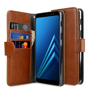 Melkco PU Leather Wallet Book Clear Type Case for Samsung Galaxy A8 (2018) - (Brown)
