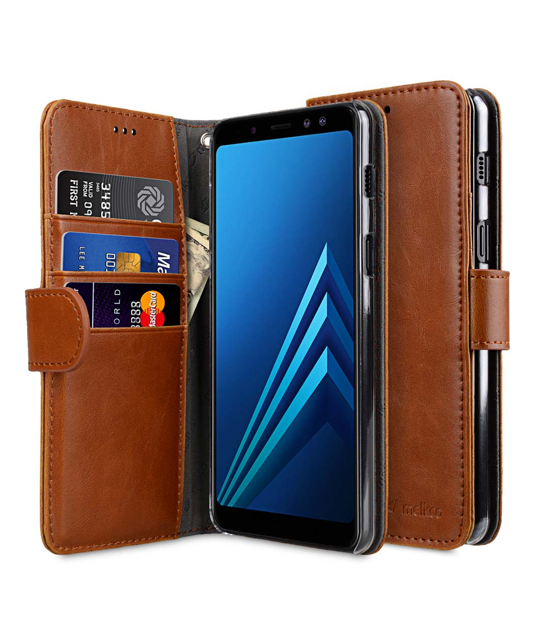 uk availability fb06f 6b7e8 PU Leather Wallet Book Clear Type Case for Samsung Galaxy A8 Plus (2018) -  (Brown)