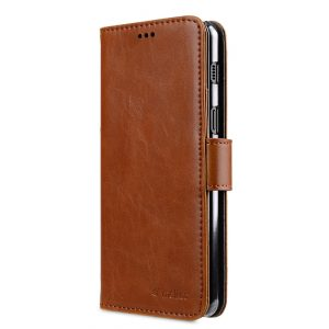 Melkco PU Leather Wallet Book Clear Type Case for Samsung Galaxy A8 Plus (2018) - (Brown)