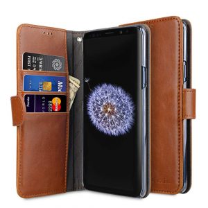 Melkco PU Leather Wallet Book Clear Type Case for Samsung Galaxy S9 - (Brown)