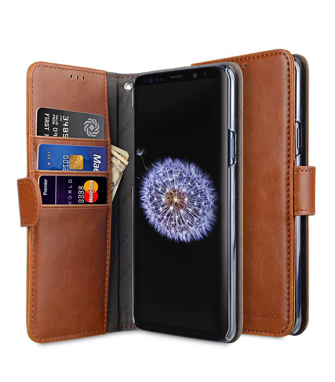designer fashion 18d1a 7d6a9 PU Leather Wallet Book Clear Type Case for Samsung Galaxy S9 Plus - (Brown)