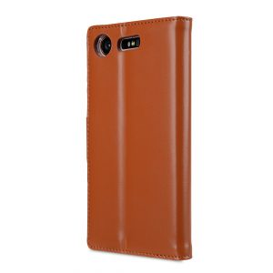 Melkco Premium Leather Case for Sony Xperia XZ1 Compact - Wallet Book Clear Type Stand (Brown CH)