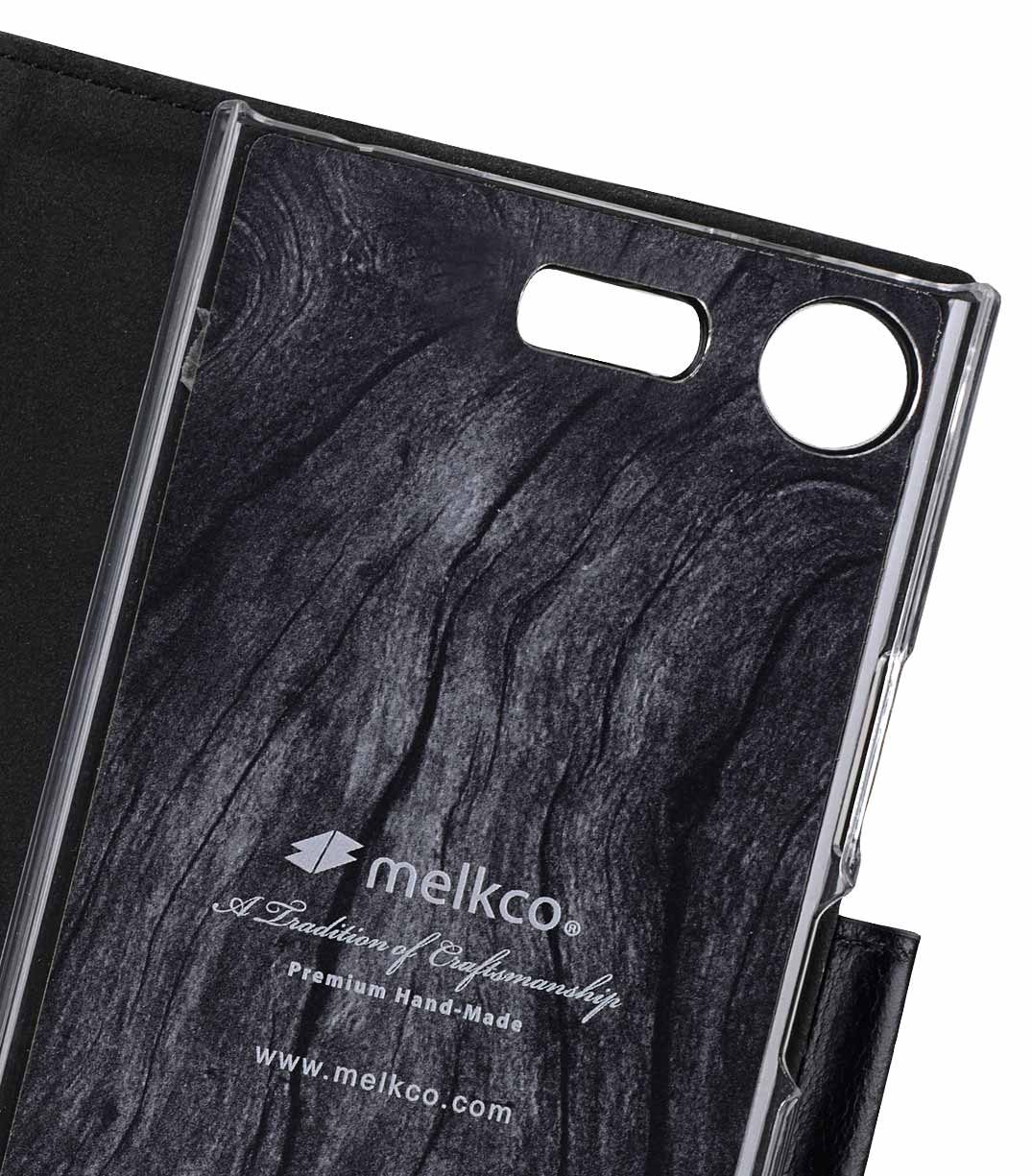 Melkco Premium Leather Case for Sony Xperia XZ1 Compact - Wallet Book Clear Type Stand (Vintage Black)