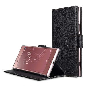 Premium Leather Case for Sony Xperia XZ1 Compact - Wallet Book Clear Type Stand
