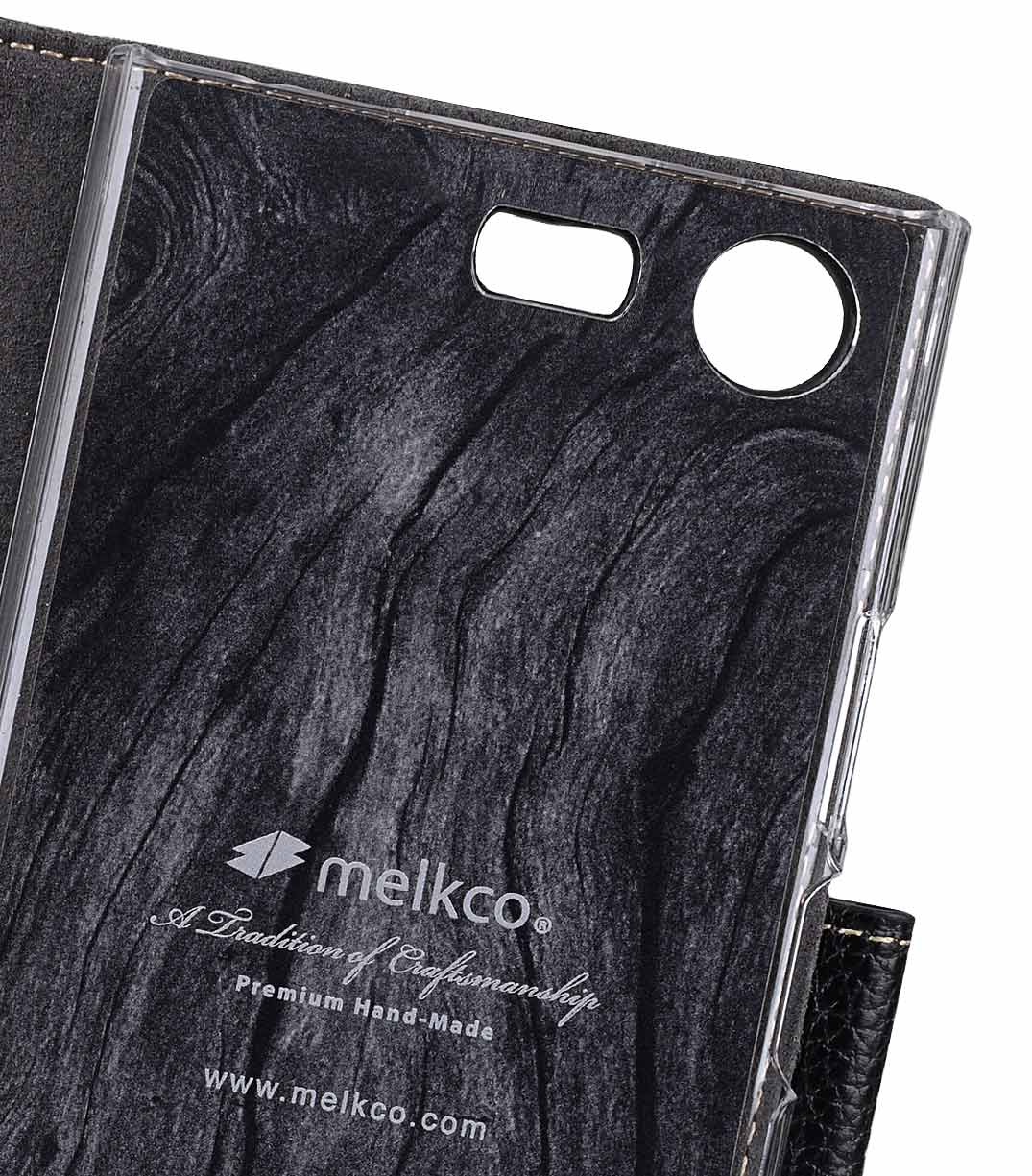 Melkco Premium Leather Case for Sony Xperia XZ1 Compact - Wallet Book Clear Type Stand (Black LC)