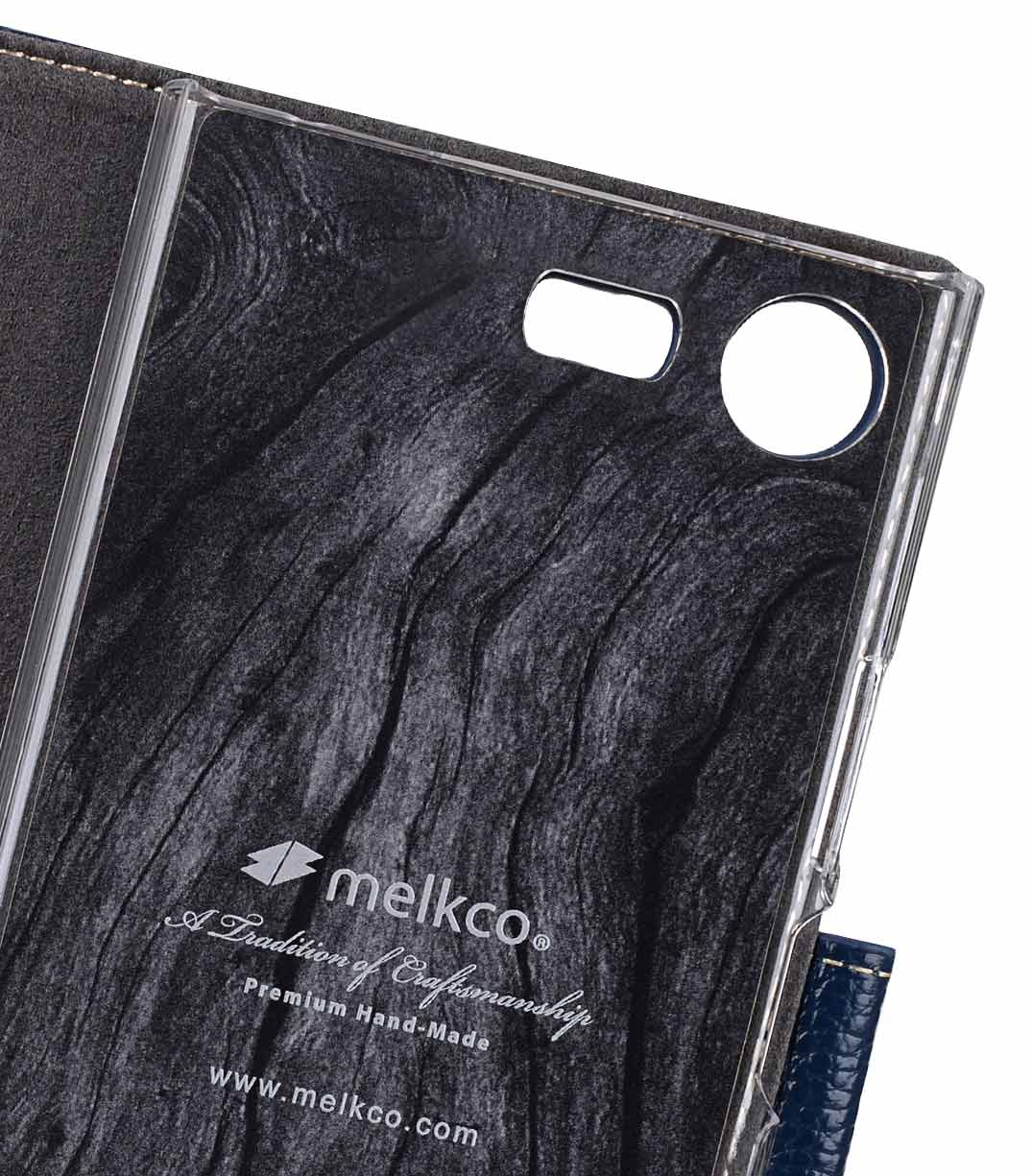 Melkco Premium Leather Case for Sony Xperia XZ1 Compact - Wallet Book Clear Type Stand (Dark Blue LC)