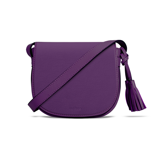 fc52837971b48 Melkco Blooming Series Mini Saddle Bag in Genuine Leather (Purple) - Melkco  Phone Accessories