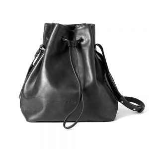 Melkco Fashion Chic Mode Series Crossbody Bucket Bag in Genuine Leather(Black)