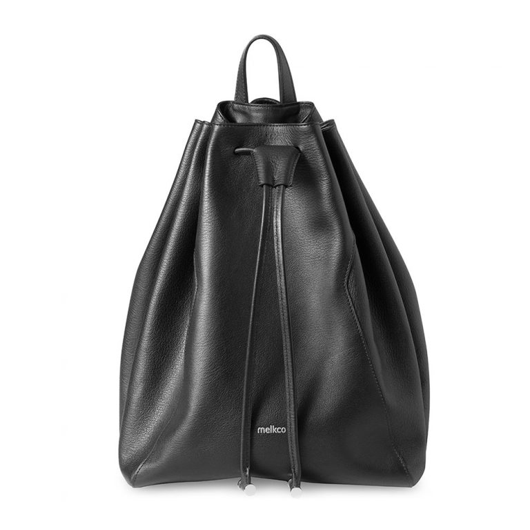 Melkco Fashion Chic Mode Series Bucket Backpark In Backpack M Size in Genuine leather(Black) - Black