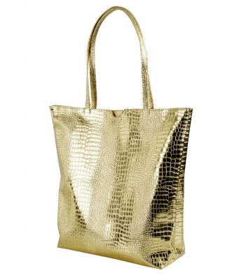 Francpod Camche Series Crocodile Pattern PU Leather Tote Bag - (Gold)
