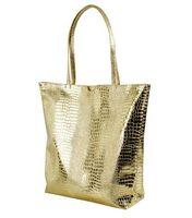 Francpod Camche Series Crocodile Pattern PU Leather Tote Bag - (Gold)