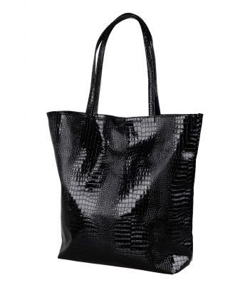 Francpod Camche Series Crocodile Pattern PU Leather Tote Bag - (Black)