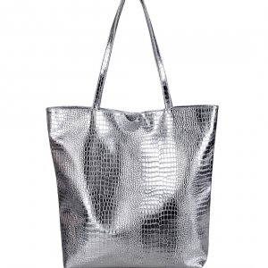 Francpod Camche Series Crocodile Pattern PU Leather Tote Bag - Silver