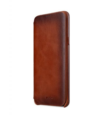 Melkco Elite Series Premium Leather Face Cover Back Slot Case for Samsung Galaxy S9 Plus - (Tan)