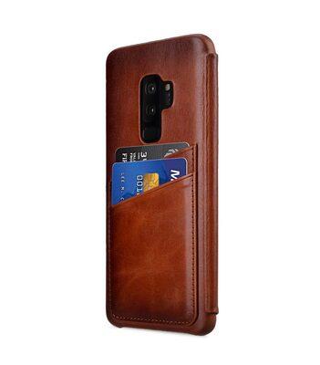 Melkco Elite Series Premium Leather Face Cover Back Slot Case for Samsung Galaxy S9 Plus - (Tan)