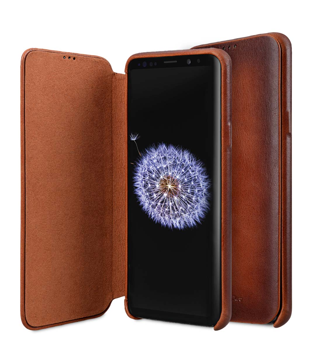 Melkco Elite Series Premium Leather Face Cover Back Slot Case for Samsung Galaxy S9 - (Tan)