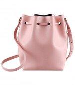 Melkco Fashion Memi Purden Bucket Bag in Cross pattern Genuine leather (Cherry blossoms)