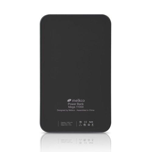 Melkco Power Bank Mega 11,000 mAh Dual USB OutPut with capacity indicator(Black)