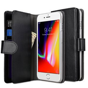 """Melkco PU Leather Case for Apple iPhone 7 / 8 Plus (5.5"""") - Wallet Plus Book Type (Black PU)"""