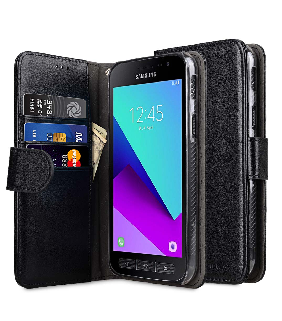 huge selection of 57915 cc9ac PU Leather Case for Samsung Galaxy Xcover 4 - Wallet Book Clear Type (Black  PU)
