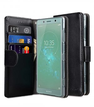 Melkco PU Leather Case for Sony Xperia XZ2 Compact - Wallet Book Clear Type (Black)