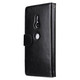 Melkco  PU Leather  Case for Sony Xperia XZ2 – Wallet Book Clear Type (Black PU)
