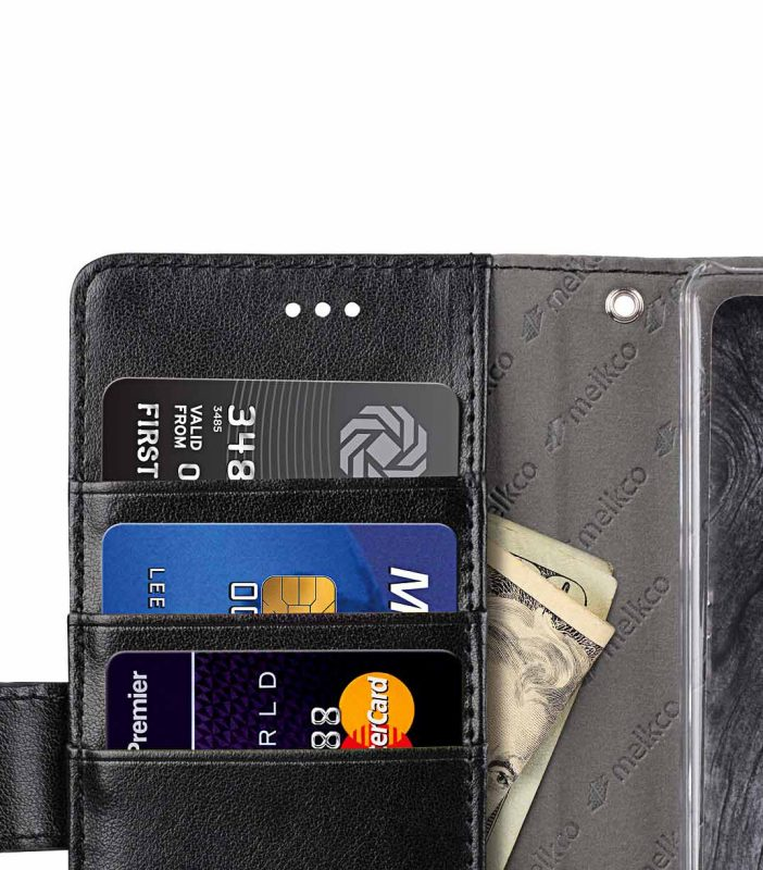 Melkco PU Leather Case for Sony Xperia XZ2 - Wallet Book Clear Type (Black PU)