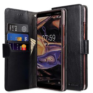 Melkco PU Leather Wallet Book Clear Type Case for Nokia 7 Plus - (Black)