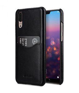 Melkco Back Snap Series Premium Leather Card Slot Back Cover V2 Case for Huawei P20 - ( Black )