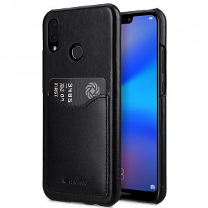 Melkco Back Snap Series Premium Leather Card Slot Back Cover V2 Case for Huawei P20 Lite - ( Black )