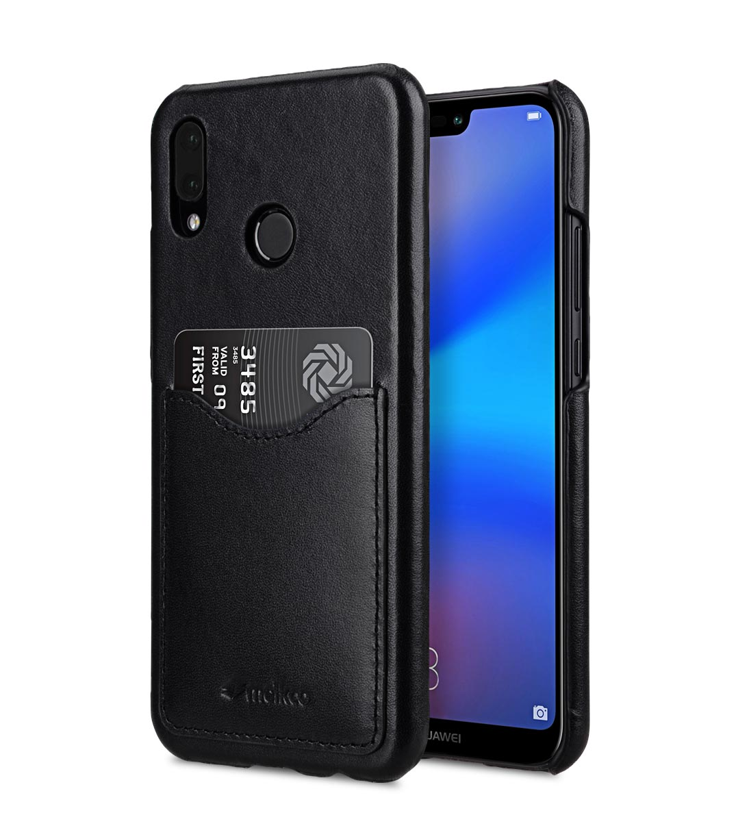 the latest 94f14 4ba5e Premium Leather Card Slot Back Cover Case for Huawei P20 Lite - (Black)Ver.2