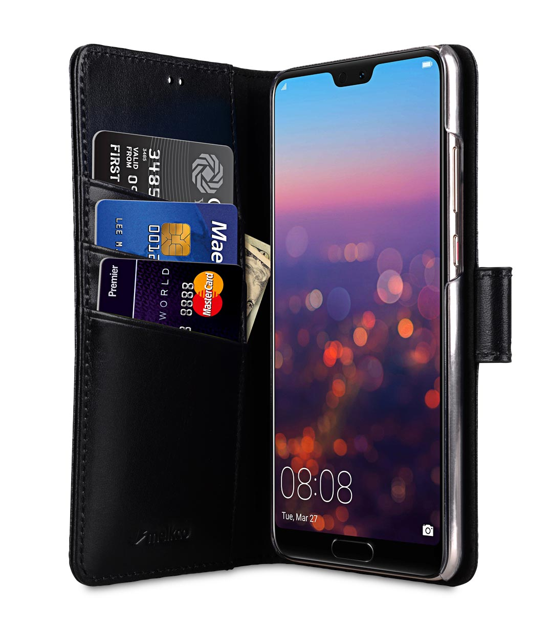 Melkco Wallet Book Series Premium Leather Wallet Book Clear Type Stand Case for Huawei P20 - ( Black )