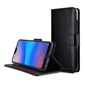 Melkco Wallet Book Series Premium Leather Wallet Book Clear Type Stand Case for Huawei P20 Lite - ( Black )