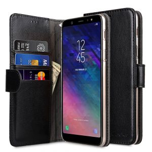 Melkco Wallet Book Series PU Leather Wallet Book Clear Type Case for Samsung Galaxy A6+ (2018) - ( Black )