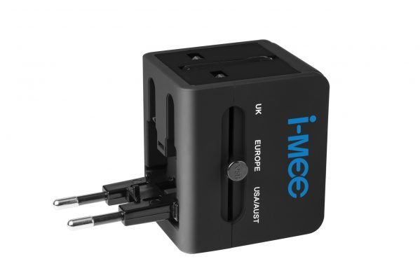 i-mee Universal All in One Power International Travel Adaptor USA/UK/EU/AUS Worldwide Wall Adapter Plug, 2 USB Charging Port for Apple, iPhone, iPad, Samsung, Huawei, Android Phones, Tablets and More