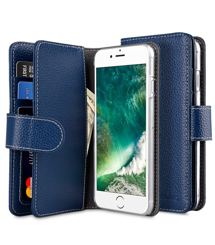 "Melkco Premium Leather Case for Apple iPhone 7 / 8 (4.7"") - Wallet Plus Book Type (Dark Blue LC)"