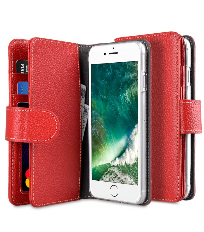 "Melkco Premium Leather Case for Apple iPhone 7 / 8 (4.7"") - Wallet Plus Book Type (Red LC)"